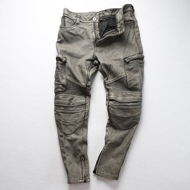 genuine cow leather motorcycle rider pants vintage stylish cowhide leather trousers 4 colours 2