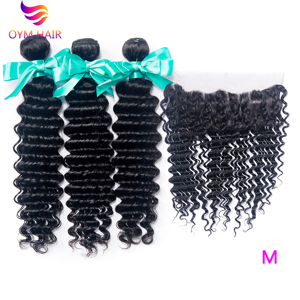 OYM HAIR Brazilian Deep Wave Hair 3 Bundles With Closure Non-Remy Hair Bundles With 13*4 Ear To Ear Lace Frontal Closure