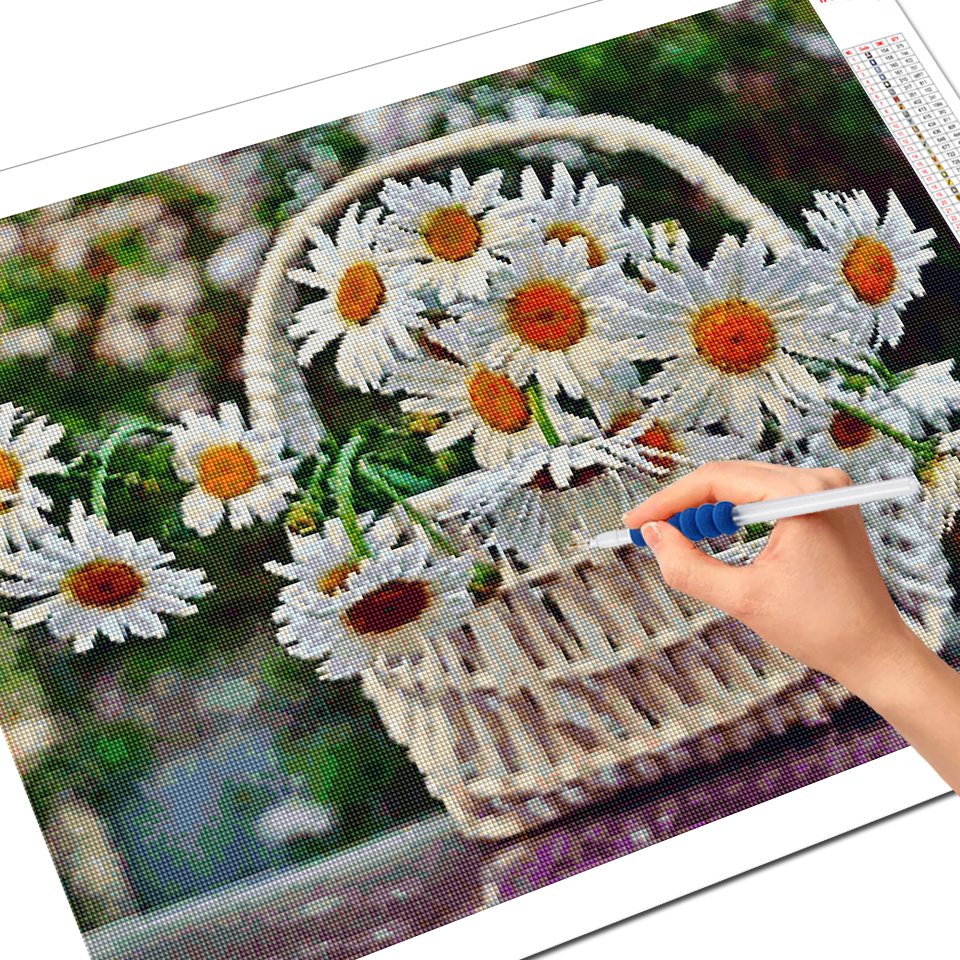 Evershine Diamond Painting Flowers Rhinestone Mosaic Diamond Embroidery Daisy Flower Cross Stitch Mosaic Diamond Home Decoration-3