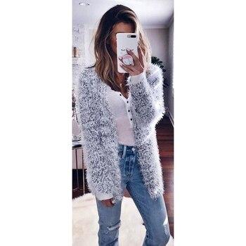 2020 Autumn Winter Women Plush Cardigan Fashion Long Sleeve Fluffy Warm Sweater Coat Female Solid Color Slim Cardigans Sweater sweet solid color collarless long raglan sleeve cardigan for women