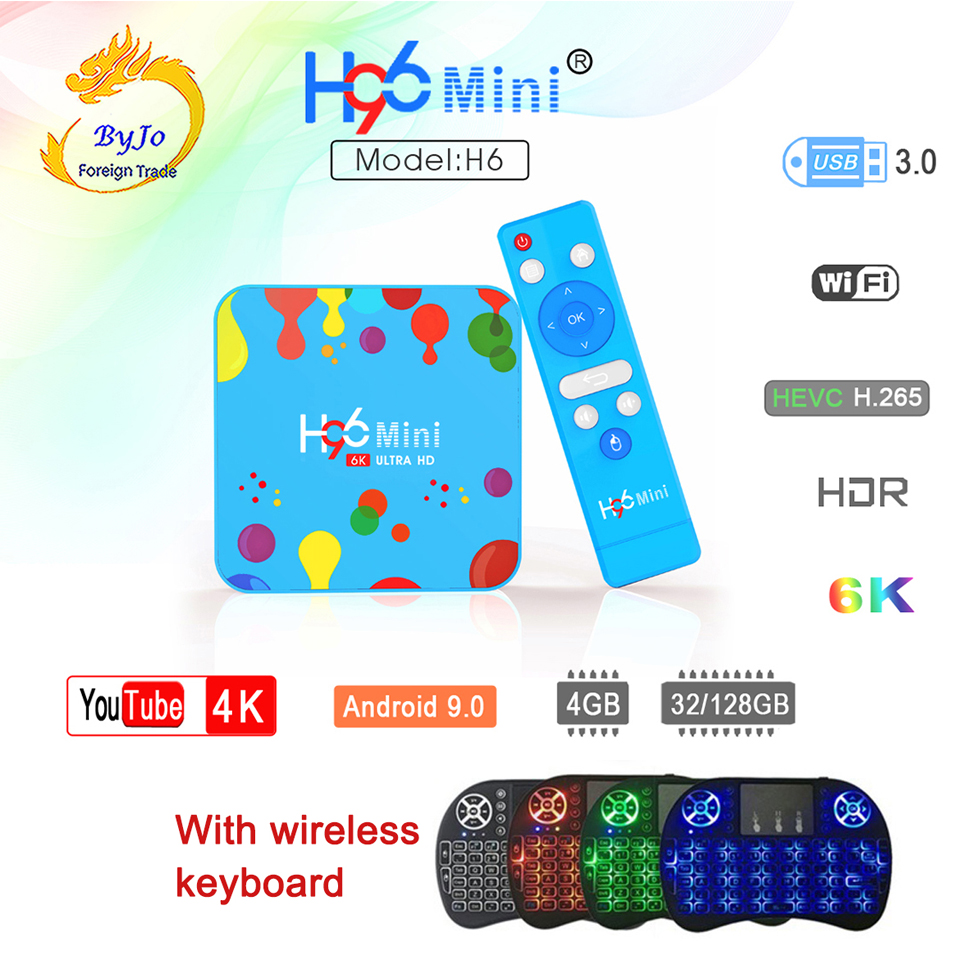 H96 Mini H6 Android 9,0 Smart TV Box 4GB 128GB Quad Core 6K H.265 Set Top Box Wifi 2,4G 5,8G con teclado inalámbrico del H96. XGODY P30 3G Smartphone 6