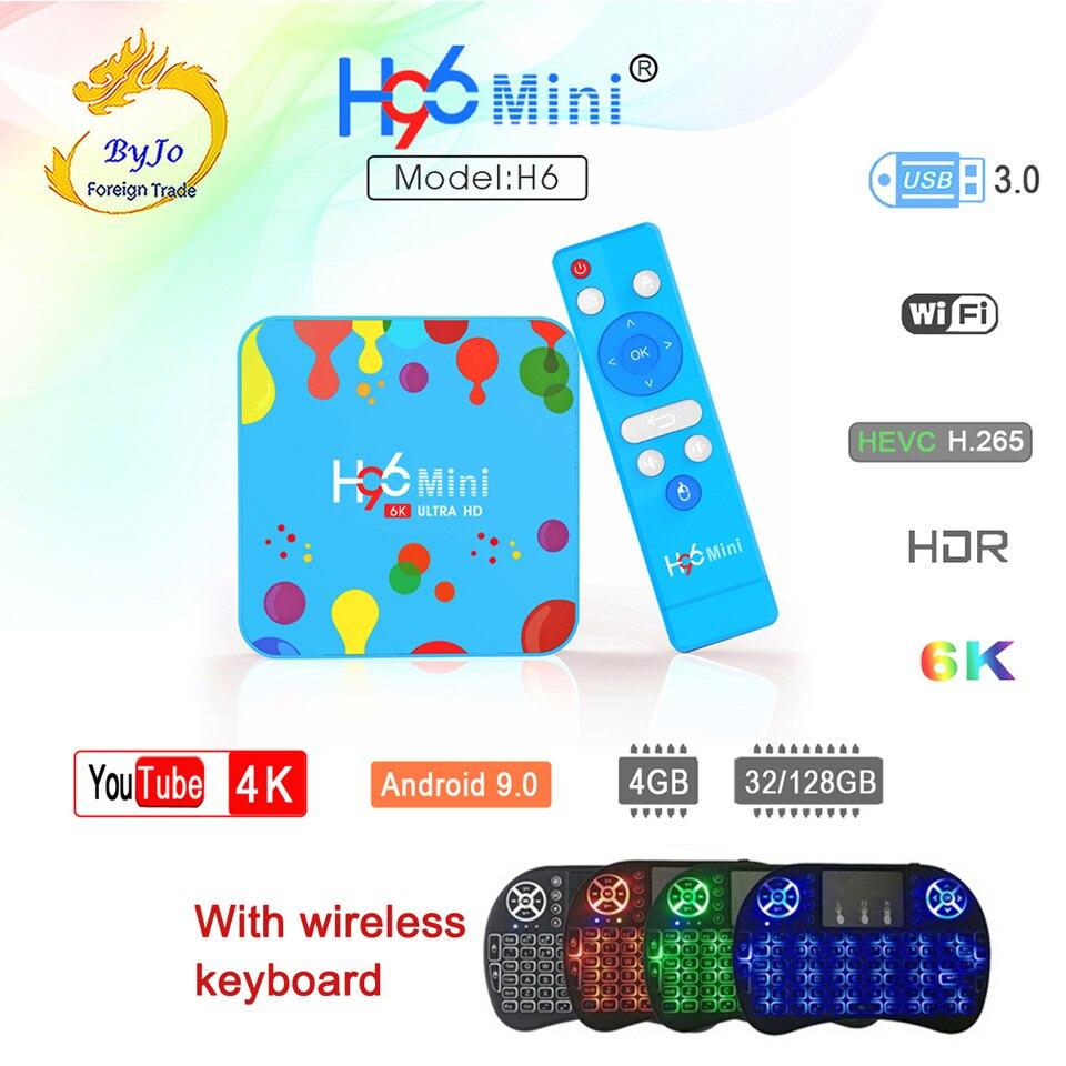 H96 Mini H6 Android 9.0 Smart TV Box 4GB 128GB Quad Core 6K H.265 Set Top Box Wifi 2.4G 5.8G With Wireless Keyboard VS H96 Max