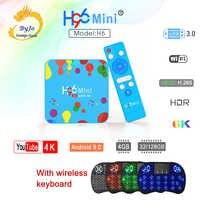 H96 Mini H6 Android 9.0 Smart TV Box 4GB 128GB Quad Core 6K H.265 Set Top Box wifi 2.4G 5.8G Con La tastiera senza fili VS h96 max