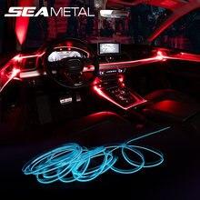 Luz ambiente de coche de colores, neón, tiras de luz LED, múltiples modos, automotriz, luces decorativas para Interior, RGB