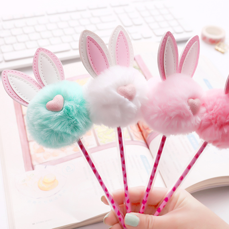 Creative neutral pen cute plush rabbit ear 0.5 black ink signature stationery