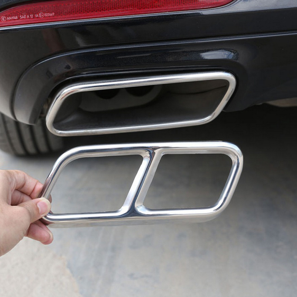 2pcs Car <font><b>Accessories</b></font> Exhaust Pipe Tail Cover Trim For <font><b>Mercedes</b></font> <font><b>Benz</b></font> S R Class W222 Coupe W251 10-17 <font><b>GL</b></font> Class <font><b>X166</b></font> 13-15 AMG Part image