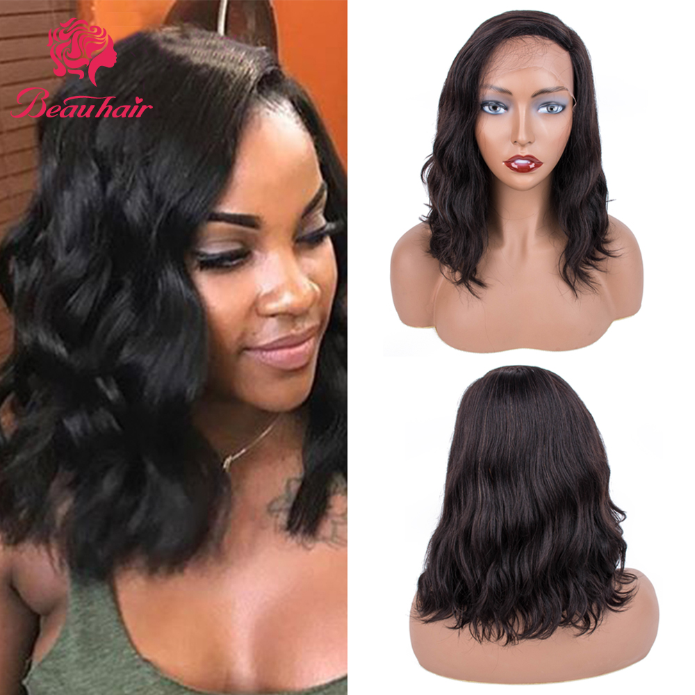 Short Lace Human Hair Wigs For Women Brazilian Ocean Wave Remy Human Hair No Smell Lace Frontal Wigs For Black Women
