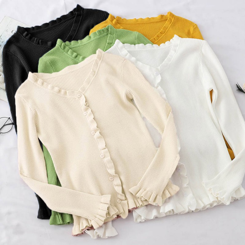 Women's Sweater Fashion Retro Solid Color Sexy Long-sleeved V-neck Long Sweater Slim Casual Elegant Sweater Pullover Wood Ear