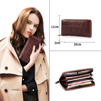 Casual Women's Genuine Leather Long Wallet Bags and Wallets Hot Promotions New Arrivals Women's Wallets Color: Coffee Ships From: China