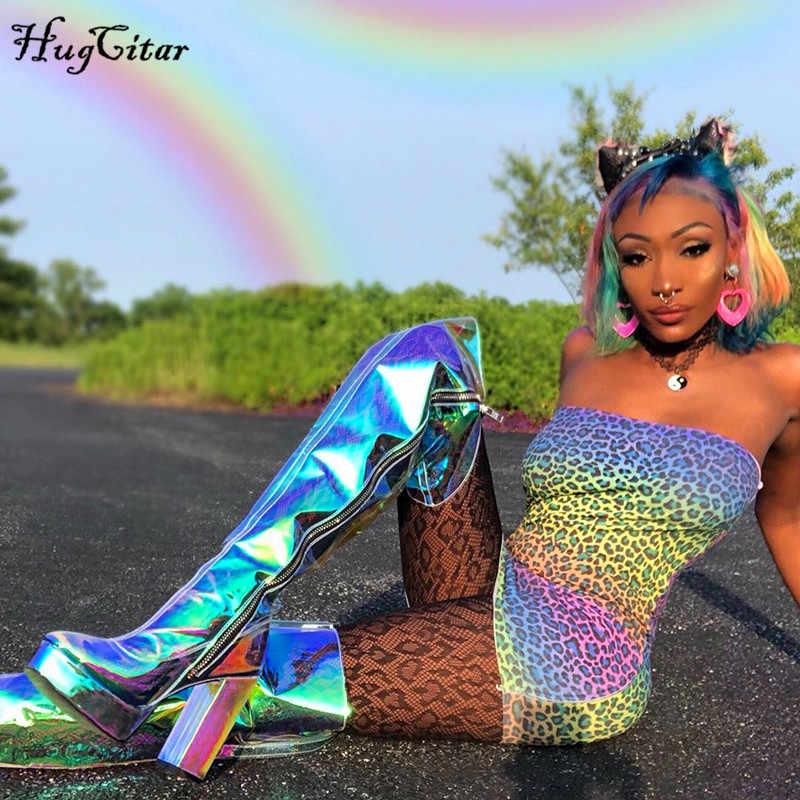 Hugcitar Леопардовый принт с вырезом лодочкой Сексуальное мини платье 2019 летние женские модные уличные Клубные вечерние платья наряды