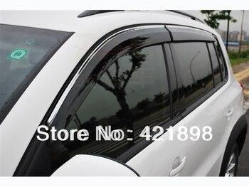 Plastic Exterior Visor Vent Shades Window Sun Rain Guard Deflector For VW Tiguan 2007-2016