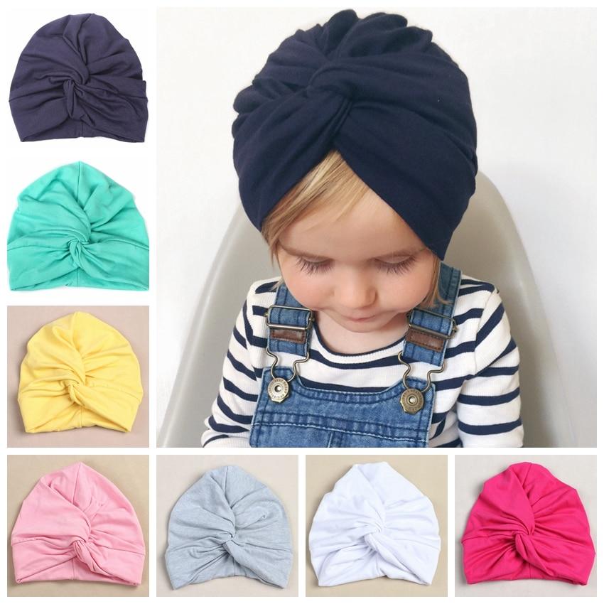 Cute Cotton Blend Baby Turban Hat Newborn Beanie Caps Kids Girls Headwear Infant Toddler Shower Hat Birthday Gift Photo Props