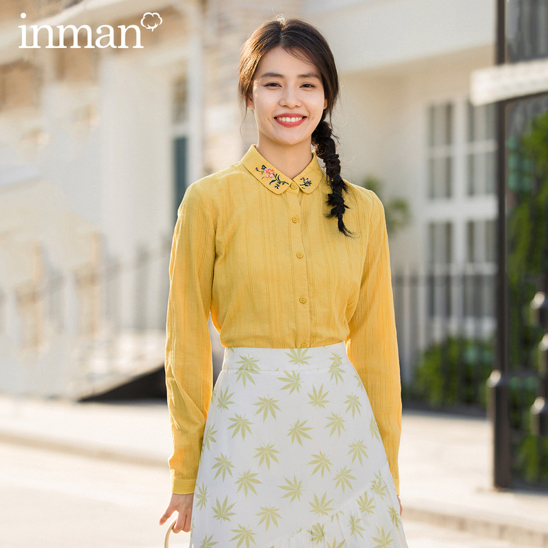 INMAN 2020 Spring New Arrival Literary Cotton Pure And Fresh Lapel Embroidered Long Sleeve Retro Blouse