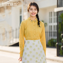 INMAN 2020 primavera nueva llegada literaria de algodón puro y fresco solapa bordado de manga larga blusa Retro