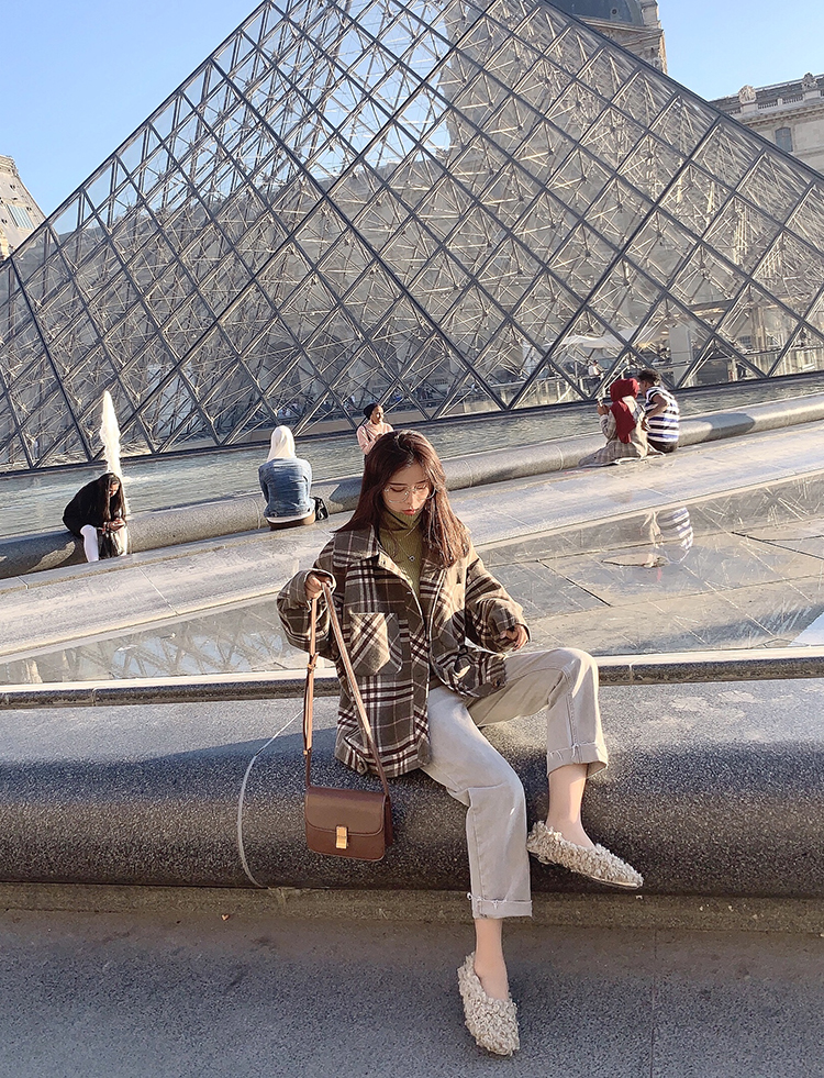 MISHOW 2019 Autumn Winter Gray Thick Woolen Coat Women Causal Lapel Striped Plaid Long Sleeve Coat Jackets  MX19C9538 31