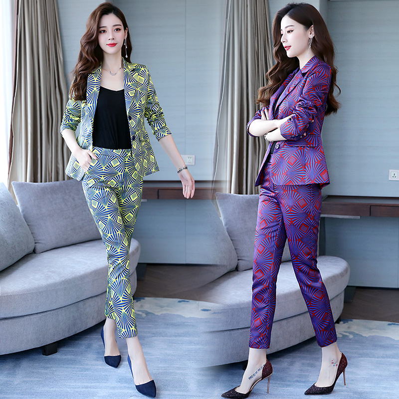 Famous Yuan Hong Kong style new women's wear professional suit printed small suit trousers show thin two-piece fashion 19