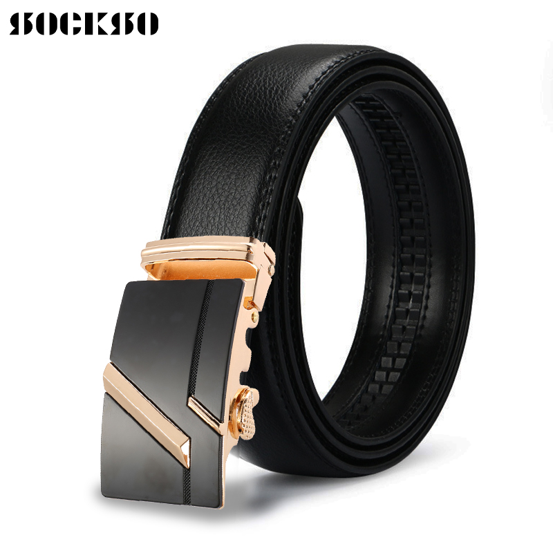 Men's Belt Cowhide Automatic Buckle Ratchet With Classic Men Luxury Brand Male Strap 110-140cm Length Leather Belts HJ111