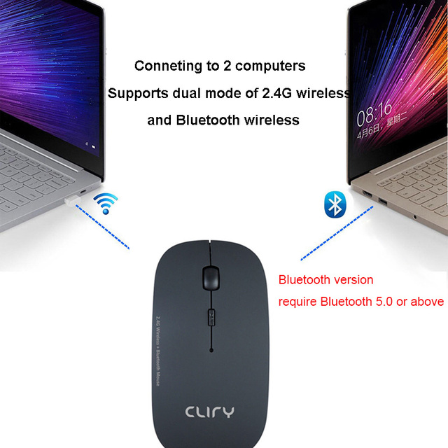 Bluetooth 5.0 + 2.4Ghz Wireless Dual Mode 2 In 1 Cordless Mouse 1600 DPI Ultra-thin Ergonomic Portable Optical Mice 2