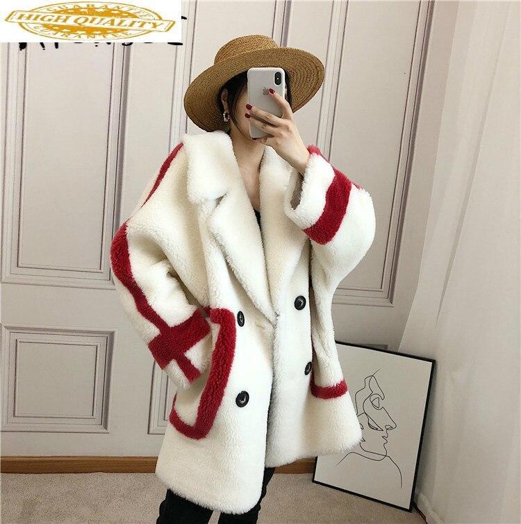 Autumn Winter Coat Women Clothes 2019 Sheep Shearing Real Fur Coat 100% Wool Jacket Women Korean Fashion Fur Tops 818005 YY1894
