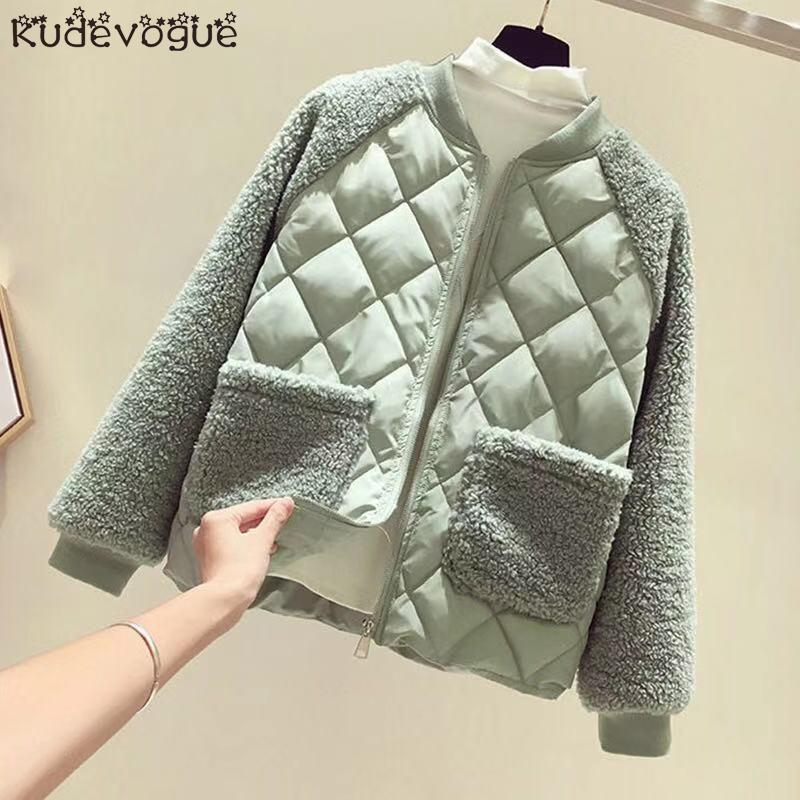 Cotton Jacket Female Short Paragraph 2020 Korean Version Of Loose Lamb Hair Stitching Cotton Coat Rhombic Small Cotton Jacket Wi