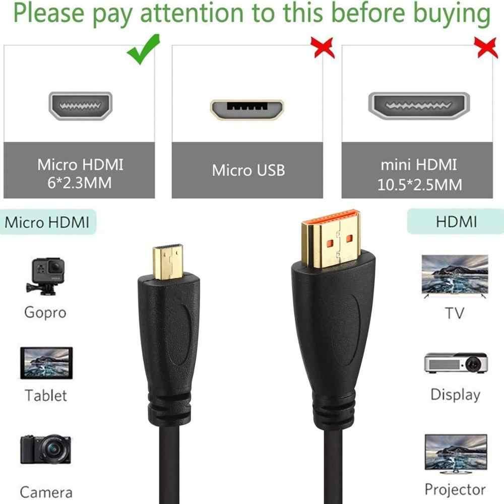 Micro HDMI Ke HDMI Kabel Dukungan 3D 4K 1080P Untuk Kamera GoPro HDTV Xbox Ponsel Tabel Kabel 1 M 2 M 3 M