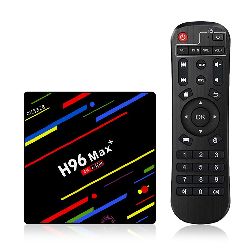 H96 Max Plus Android 9.0 TV Box Quad Core double WIFI RK3328 4GB DDR3 RAM 32GB ROM USB3.0 Support Bluetooth HD Netflix 4K Youtube