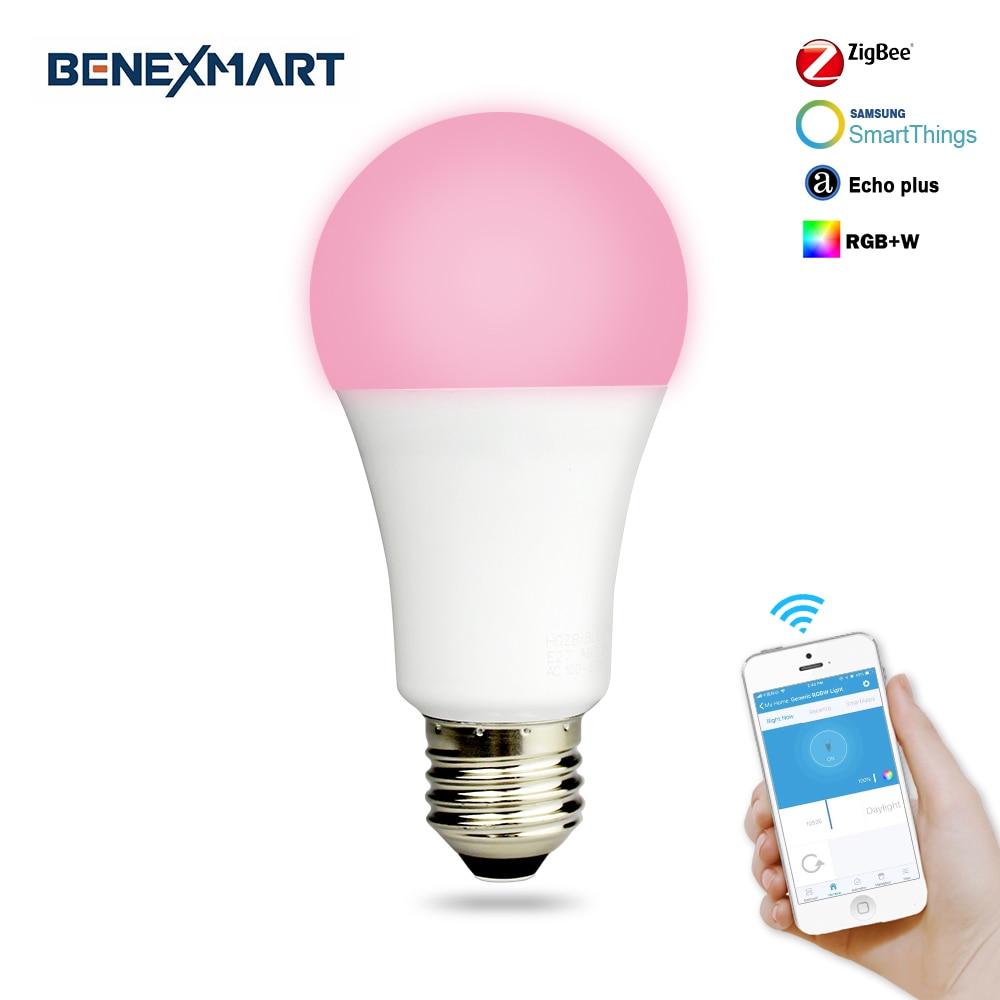 Benexmart Zigbee 3.0 Bulb 8W Dimmable E27 RGBW Led Bulb Light Control By Hue Smartthings Echo Plus