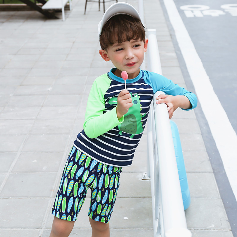 BOY'S Surfing Suit Large Children Dinosaur Baby Sun-resistant Split Type Long Sleeve Three-piece Set-Hot Springs KID'S Swimwear