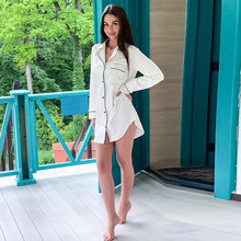 HiLoc Black White Long Sleeve Robes For Women Sleep Tops Pocket Long Blouse Satin Robe 2020 Femme Sexy Pajamas Autumn Winter