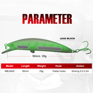 Image 2 - NOEBY Fishing Sinking Minnow ABS Lure 90mm/29g Bass Pike Walleye Trout Plastic Wobbler Hard Baits Swimbaits Artificial Lure Sea