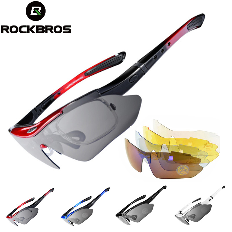 ROCKBROS Polarized 5 Lens Cycling Glasses UV400 Outdoor Sports Sunglasses Goggles Safety Protection Bicycle Eyewear Myopia FrameCycling Eyewear   -