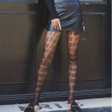 Women Fashion Pattern Tights Silk Letter pantyhose Thin Tattoo Stockings Full Footed Fishnet Panty see thru flower pattern fishnet tights