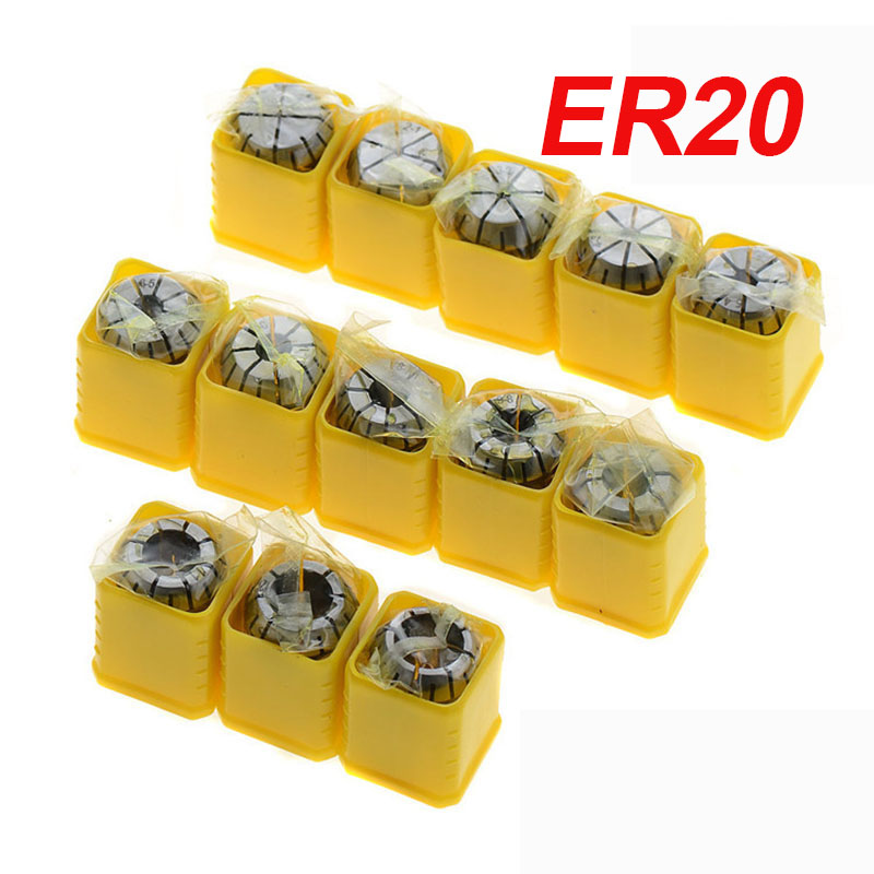 1pcs ER20 1-13MM  1 2 3 4 5 6 7 8 9 10 11 12 13Spring Collet Set For CNC Engraving Machine Lathe Mill Tool