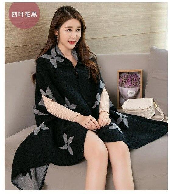 Новинка, роскошный брендовый женский зимний шарф, теплая шаль, женское Клетчатое одеяло, вязанное кашемировое пончо, накидки для женщин, echarpe - Цвет: style 1
