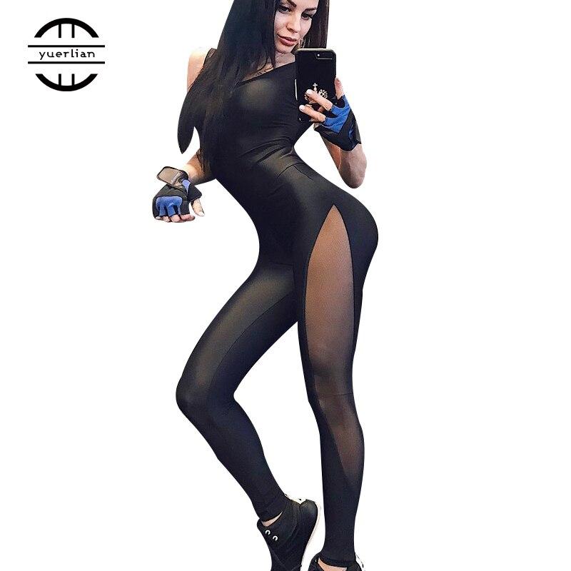 2019 Woman Sportswear Yoga Set Mesh Patchwork Black Sport suit Jumpsuit Fitness clothing sports wear for women gym clothing