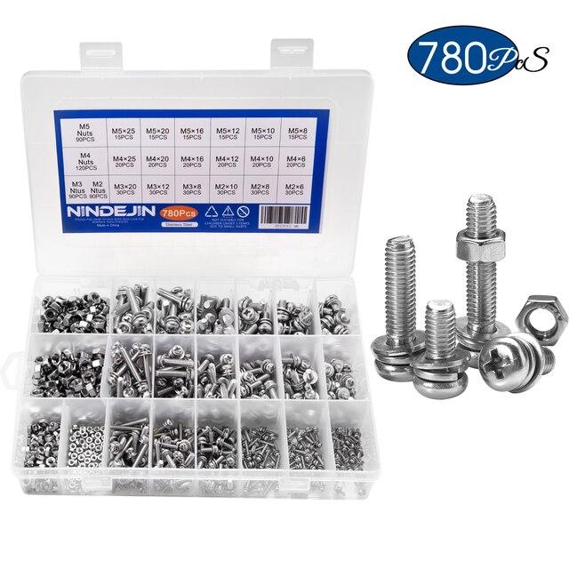 NINDEJIN 780PCS M2 M3 M4 M5 Phillips Pan Round Head Screws Set With Nut Flat Lock Washers Machine Screws Assortment Kit