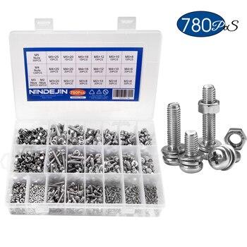 NINDEJIN 780PCS M2 M3 M4 M5 Screws Philips Pan Head Screws Set With Bolt Nut Lock Flat Washers Machine Screws Assortment Kit