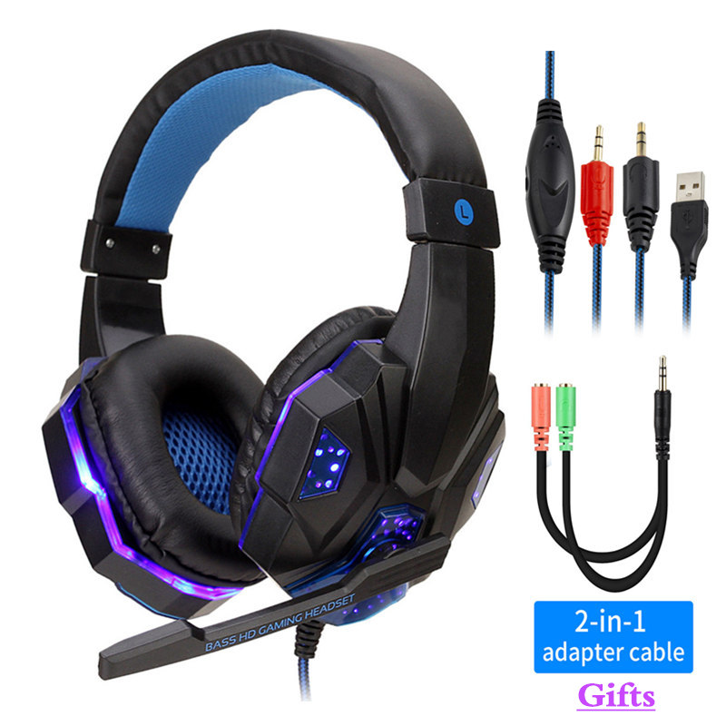 Professional Led Light Gaming <font><b>Headphones</b></font> for Computer PS4 Adjustable Bass Stereo PC Gamer Over Ear Wired Headset With Mic Gifts