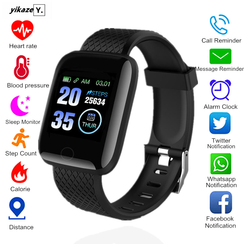 116 mais relógio inteligente das mulheres dos homens relógios pressão arterial pulseira de fitness rastreador d13 à prova dwaterproof água esporte smartwatch para android ios Relógios inteligentes    -