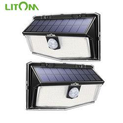 Litom luz solar externa, 300 leds alimentados por luz solar à prova d' água sensor de movimento pir luz de rua para decoração de jardim