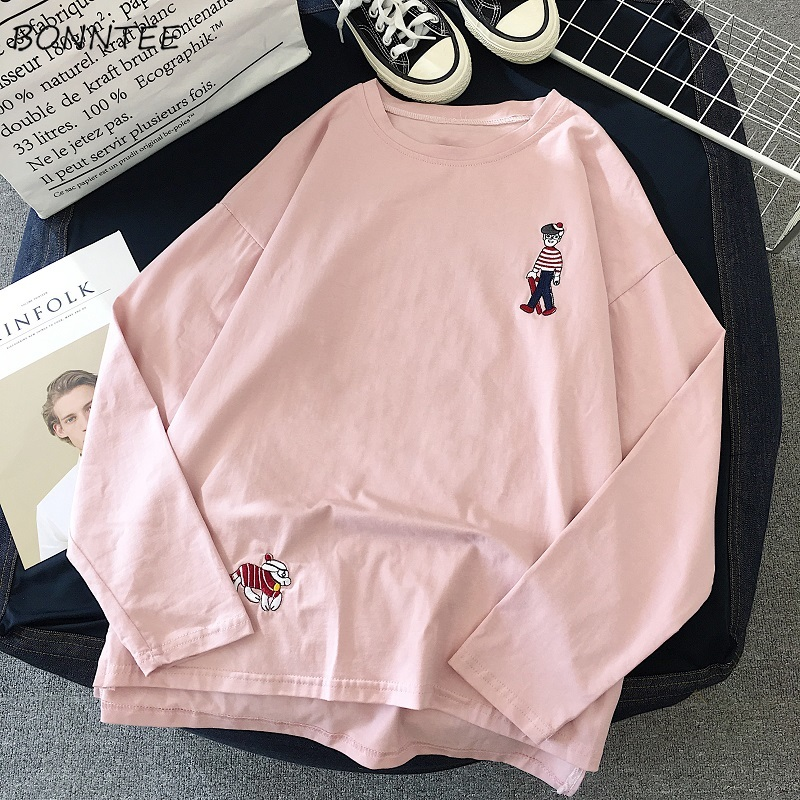 Hb3920b51b98f49829b25c482c8e5218b4 - harajuku funny Cartoon embroidery t shirt autumn long Sleeve casual loose Tshirt korean ulzzang Women T-shirts stripe pink tops