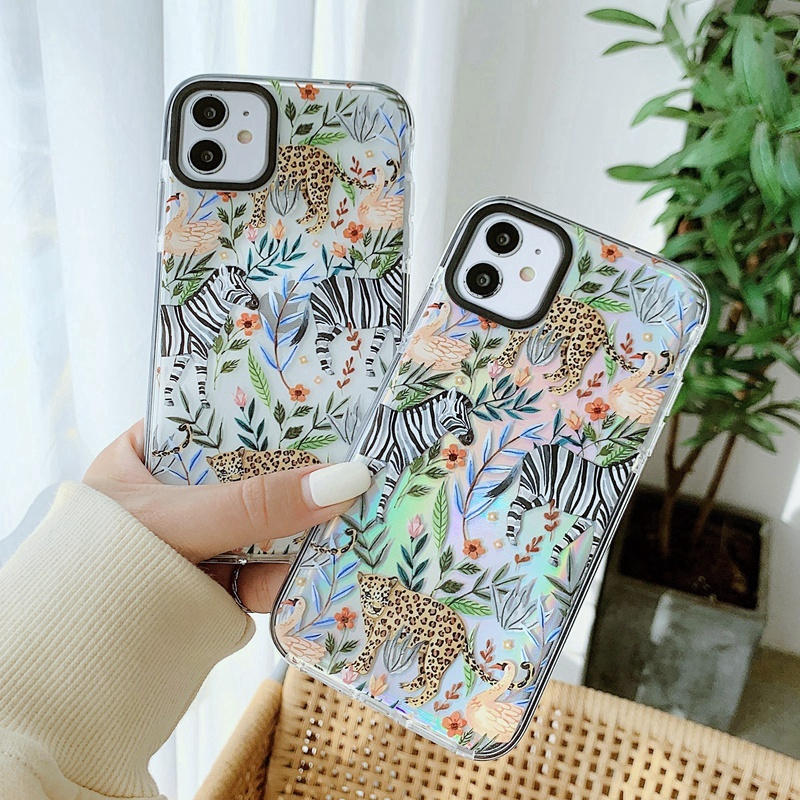 3D Cartoon Animal Zebra Leaves Silicone Case For Iphone 12 Mini 11 Pro Max XS XR 7 8 Plus X INS Laser Paper Cases Iphone12 Cover