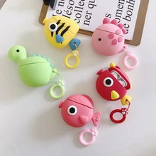 For AirPods Case 3D Three-dimensional Cute Doodle Fish Case For Airpods 2/i10/i11/i12 TWS Protect Cover with Finger Ring Strap(China)