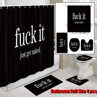 Four piece shower curtains bathroom curtain partition curtain for 3D digital printing bathroom curtain three piece toilet set
