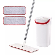 Eyliden Flat Squeeze Mop and Bucket with Hand Washing Microfiber Free 2 Mop Cleaning Cloth Kitchen Wooden Floor Lazy Floor Mop