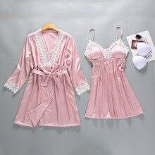 Silk Robe Night-Dress Pajamas Lingerie-Set Daily-Wear Sleep Women Summer for 2PCS Tops
