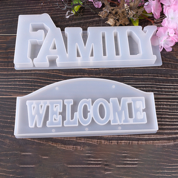 Doreen Box Silicone Resin White Mold Women For Jewelry Making Rectangle Message FAMILY WELCOME DIY Gifts Crafts Tools,1Piece