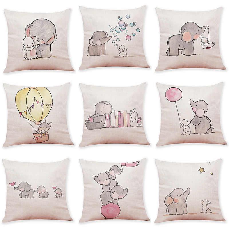 Hot Sale Linen Sarung Bantal Lucu Kartun Hewan Sarung Bantal untuk Anak-anak Kamar Tidur Dekorasi Melempar Sarung Bantal Sofa Kursi Sarung Bantal