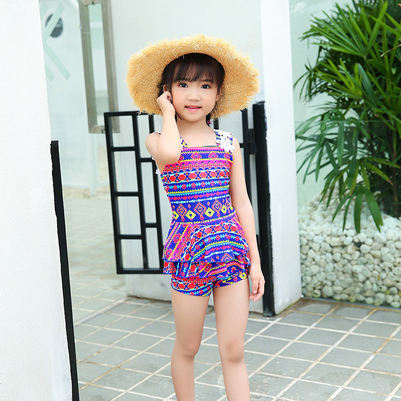 Korean-style New Style KID'S Swimwear Girls One-piece Bathing Suit Skirt Sleeveless Cartoon Pattern Beach Hot Springs Play With