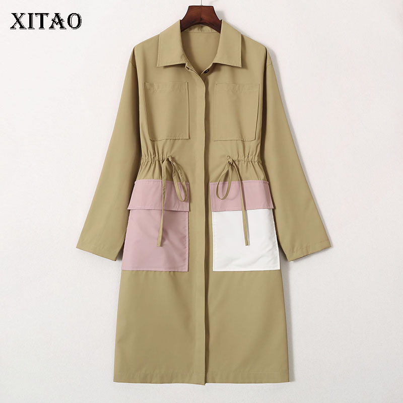 XITAO Pleated Waist   Trench   Women Fashion New Turn Down Collar Single Breast Wide Waist Elegant Small Fresh Casual Coat WQR2087